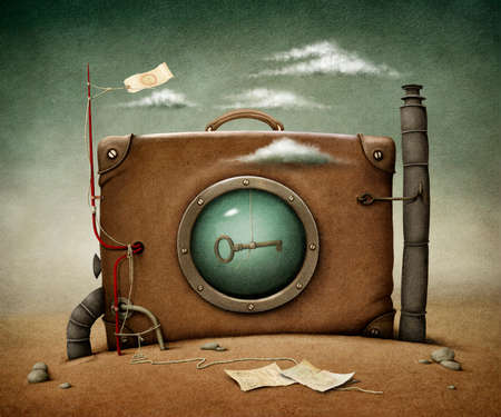 Conceptual illustration  lone suitcase in desert  Computer graphics