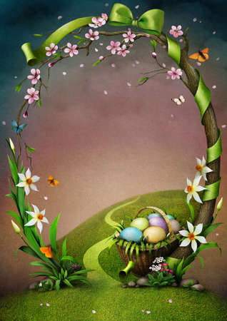 primrose: Illustration or background with  floral frame with bow and Easter eggs