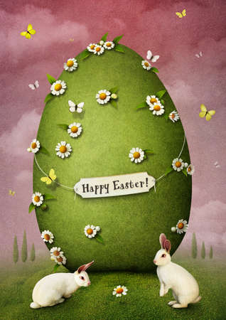Greeting card with Easter egg and rabbits