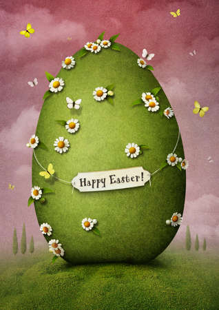 Greeting card with green Easter egg Stock Photo