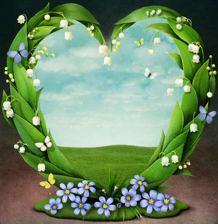 Frame with spring flowers in shape of heart photo