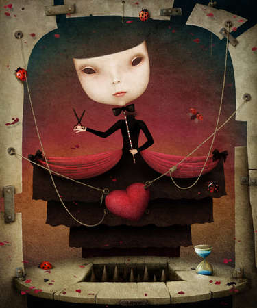 obsession: Conceptual illustration girl and heart