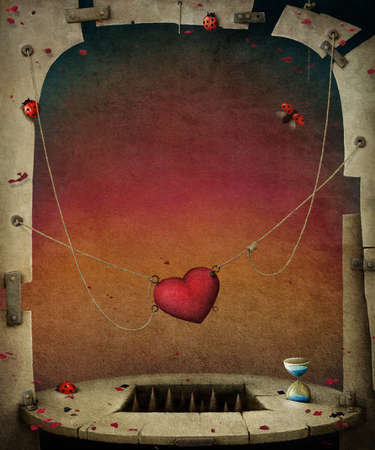 flagstone: Conceptual background with hearts, illustration or poster