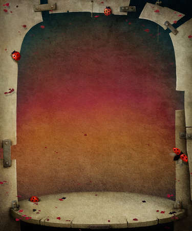 flagstone: Background with bizarre scene and   wall and with ladybirds