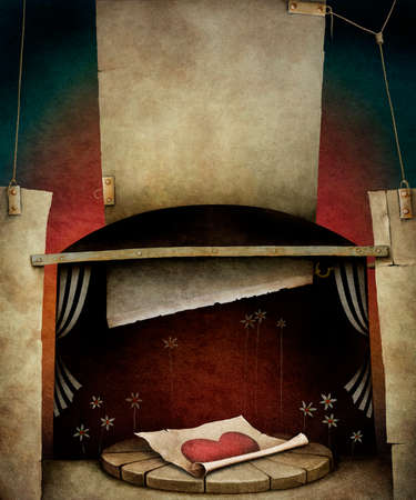 murder scene: Textural background with heart, plates, guillotine