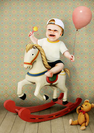 beanbag: Little baby boy on horse and with beanbag