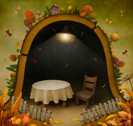 mouse hole: Conceptual illustration background Autumn and house mouse