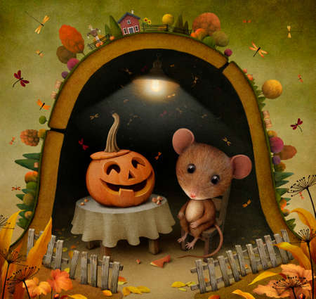 fantasy fairy: Conceptual illustration for Halloween with  mouse and  pumpkin   Stock Photo