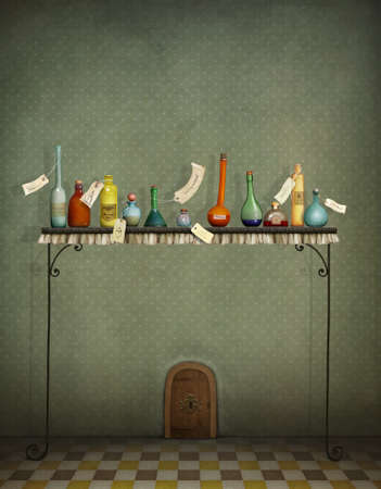 antidote: Fantasy illustration with bottles on table and small door Stock Photo