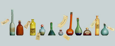 isolates: Fantasy illustration with Different Bottles with tags Stock Photo