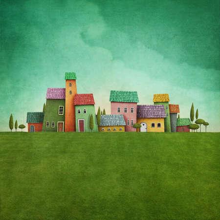 case colorate: Paesaggio verde con case rustiche colorate Archivio Fotografico