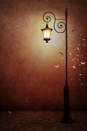 portadas libros: ilustración de fantasía o un cartel, o antecedentes de la tarjeta con la lámpara de calle