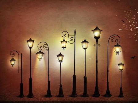 Fantasia illustrazione o poster, o sfondo per la carta con la lampada di via