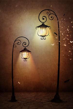 Fantasia illustrazione o poster, o sfondo per la carta con la lampada di via Archivio Fotografico