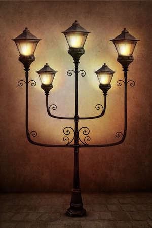 tonight: Fantasy illustration or poster, or background for card with street lamp