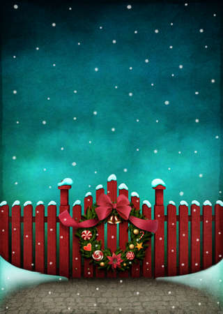 christmas winter: background for Greeting card or illustration of red fence and Christmas Wreath Stock Photo