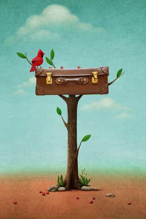 maletas de viaje: Ilustración de la fantasía con el pájaro rojo y maleta de la vendimia en el árbol Foto de archivo