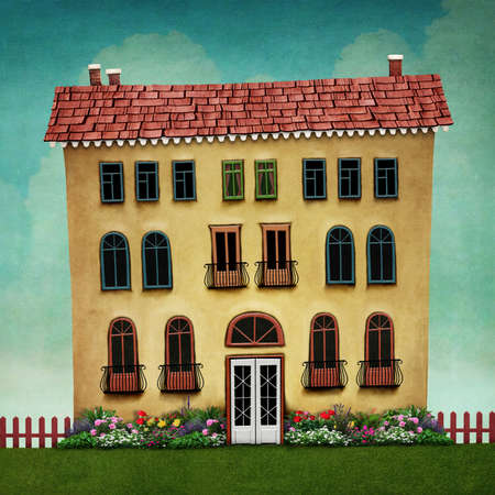 large house: Illustration or poster with large house and flower bed