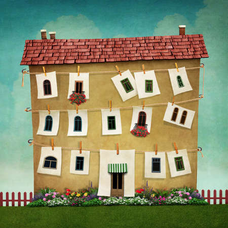 poster bed: Illustration or poster with large house and flower bed