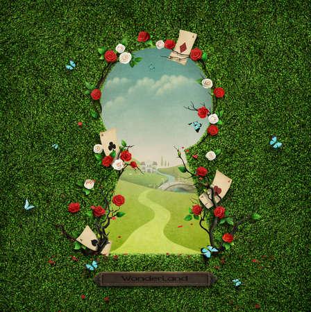 Beau fond vert avec des roses en trou de serrure.