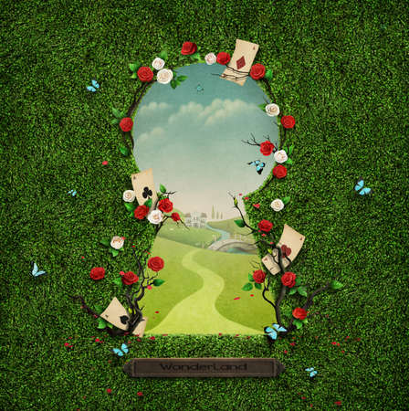 Beautiful green background with roses in keyhole. Stock Photo
