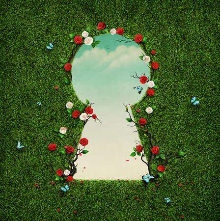 Prachtige groene achtergrond met rozen en azen in sleutelgat. Stockfoto