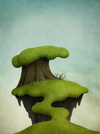 Priorità bassa di fantasia con la piccola isola verde sull'albero.
