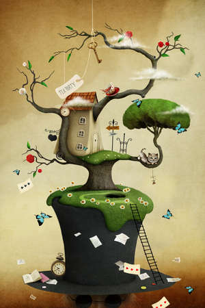 Conceptual illustration with colorful house on tree