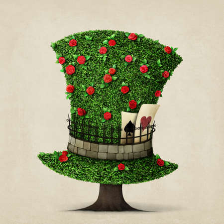 Fantasy green hat in the shape of tree with flowers.