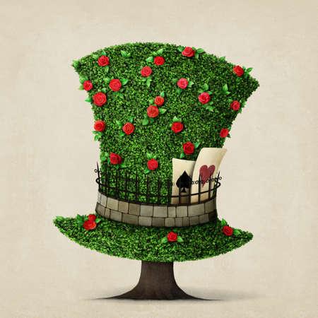 Fantasie groene hoed in de vorm van een boom met bloemen.