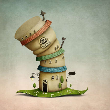 tree house: Cheerful color cartoon fancy house in form of hat