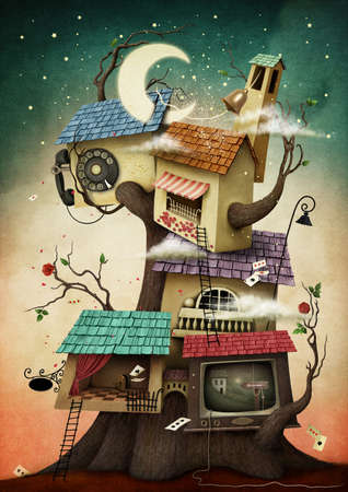 Conceptual illustration with colorful house on tree Standard-Bild