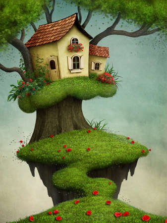 drawing trees: Fantasy illustration for greeting card or poster with house on tree