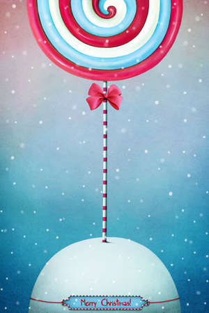 christmas candy: Greeting card or poster with festive Christmas candy.