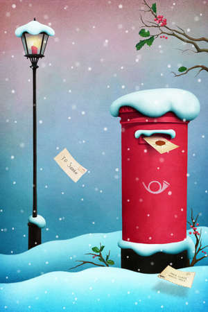 post box: Greeting Card Merry Christmas with vintage red mailbox