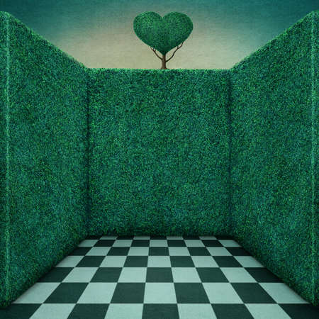 fantasy background: Background for illustration or poster with green walls and tree heart