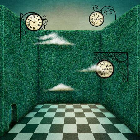 fantasia: Ilustração do conto de fantasia ou o cartaz da sala verde e relógio Banco de Imagens