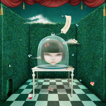 blind girl: Conceptual illustration head of girl under glass cover