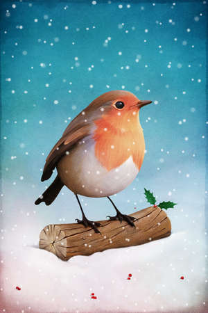 Christmas card or illustration with robin and holly