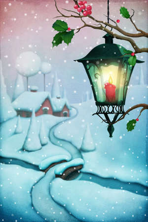 Greeting card Christmas with street lantern and Christmas village