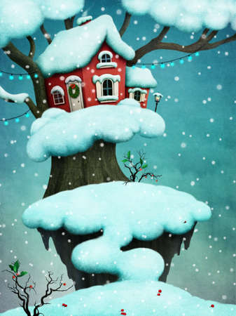 fake christmas tree: Greeting card for Christmas with red house on snowy tree