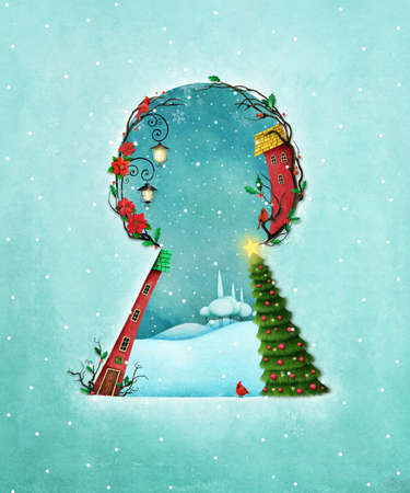 snow cardinal: Holiday greeting card or poster for Christmas or New Year with keyhole and winter landscape