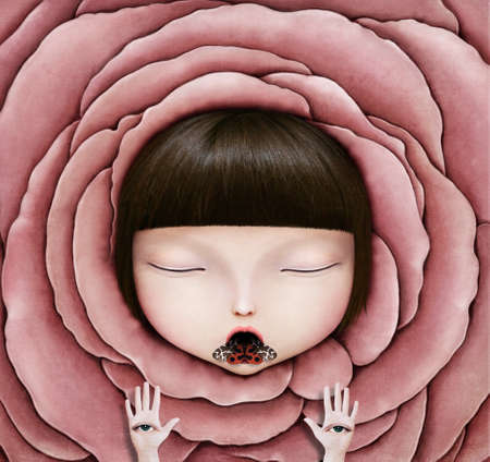 Conceptual illustration or poster with head of girl in rose petal with butterfly and eyes hands