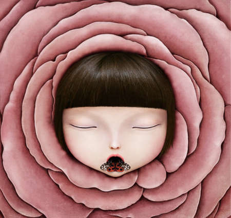 Background for Conceptual illustration or poster with head of girl in rose