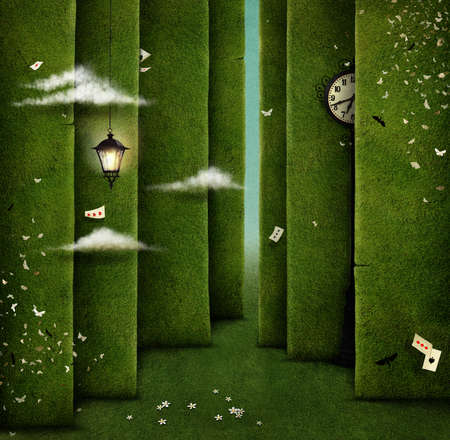 Conceptual illustration of green maze and fantasy objects Banque d'images