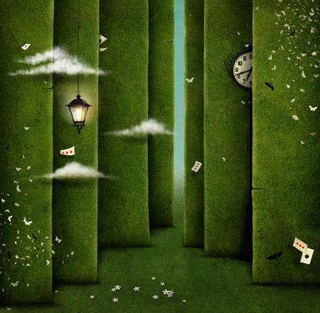 Illustrazione concettuale di labirinto e fantasia oggetti verdi Archivio Fotografico