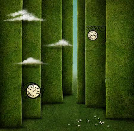 Conceptual illustration of green maze and fantasy objects Фото со стока