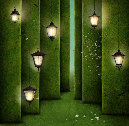 Conceptual illustration of green maze and street lantern.