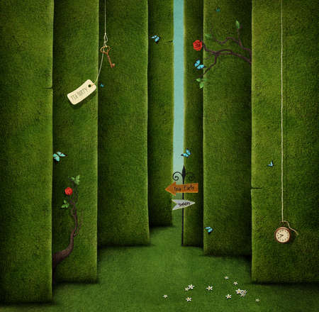 lost: Conceptual illustration of green maze and fantasy objects Stock Photo