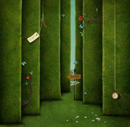 Conceptuele illustratie van groene doolhof en fantasy objecten Stockfoto